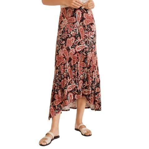 Mango Brown Fluted Hem Skirt