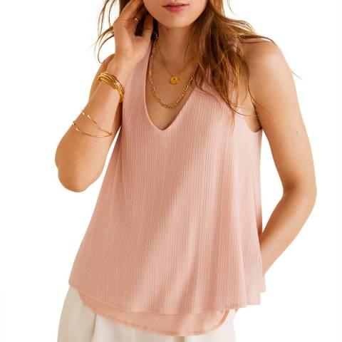 Mango Pink V-Neck Sleeveless T-Shirt