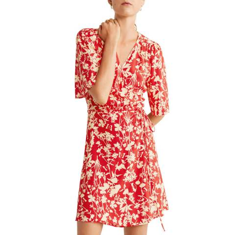 Mango Red Print Wrap Dress