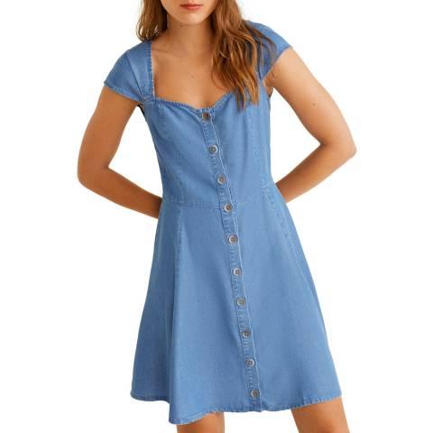 Mango Medium Blue Soft Denim Dress