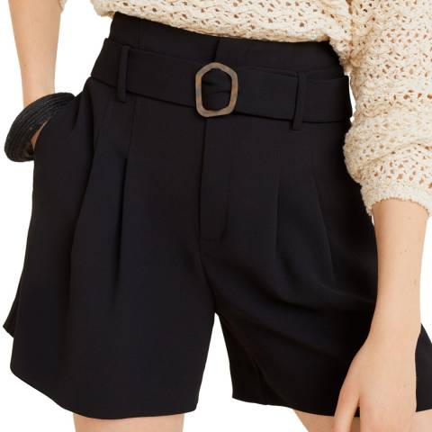 Mango Black Belt High-Waist Shorts