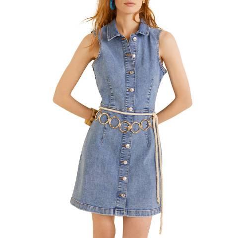 Mango Medium Blue Button Denim Dress