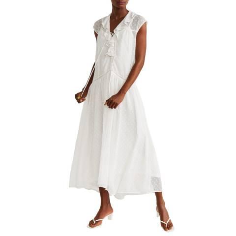 Mango Off White Plumeti Dress