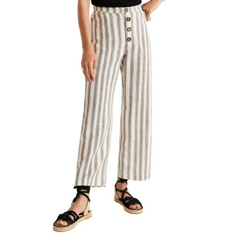 Mango Off White Striped Linen-Blend Trousers
