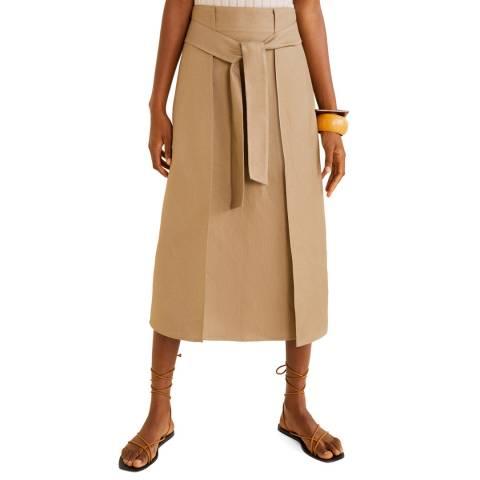 Mango Natural Linen Midi Skirt