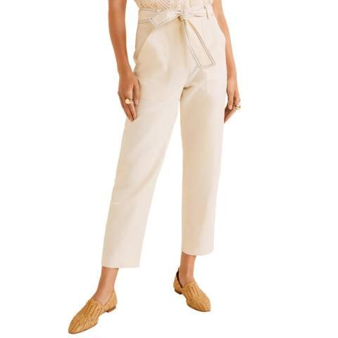 Mango Ecru Carpe Linen Blend Trousers