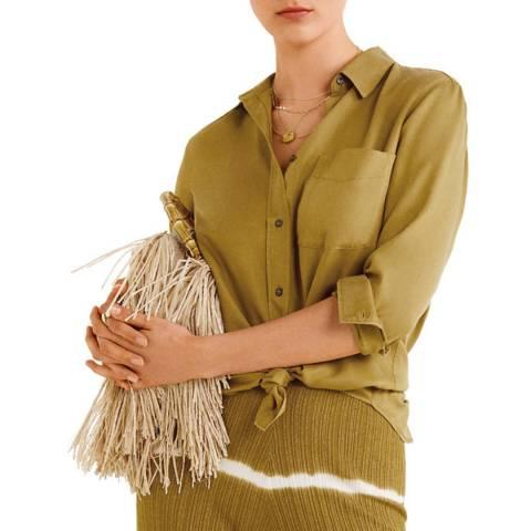 Mango Khaki Long Sleeve Classic Shirt