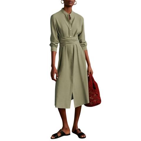 Mango Khaki Buttoned Bow Dress