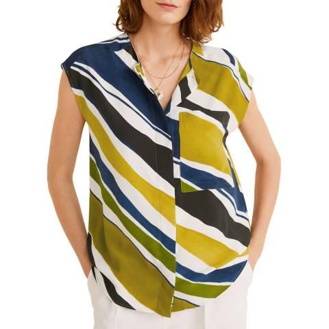 Mango Green Chest-Pocket Striped Blouse