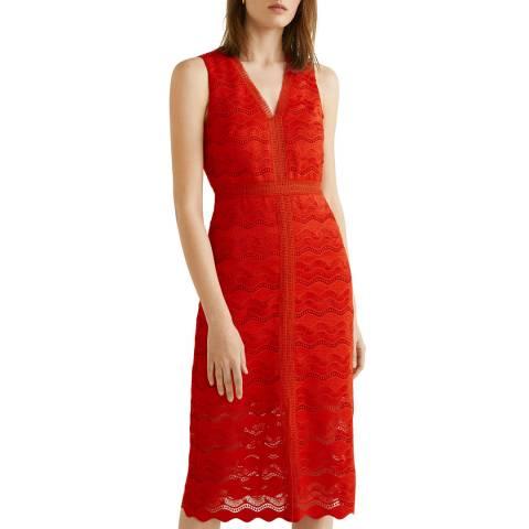 Mango Red Openwork Detail Dress