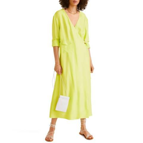 Mango Neon Yellow Buckle Flowy Dress