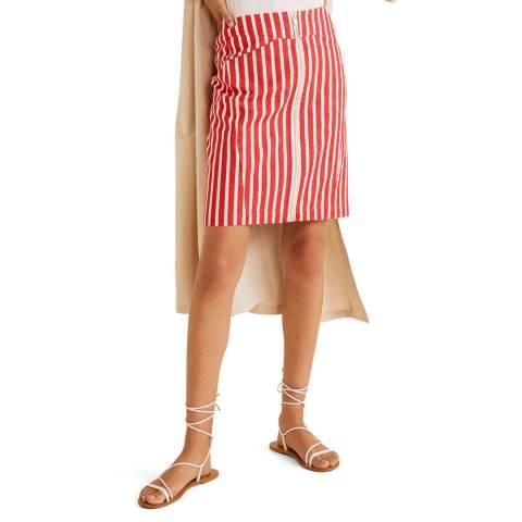 Mango Red Pesi Stripped Skirt