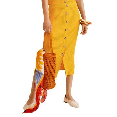 Mango Mustard Cable Knit Skirt