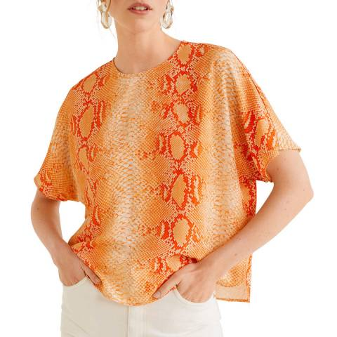 Mango Orange Snake Print Blouse