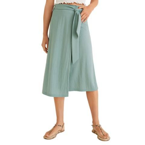 Mango Blue Bow Wrap Skirt