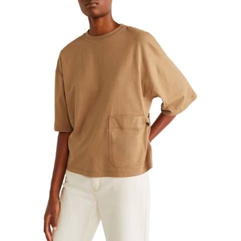 Mango Medium Brown Pocket Cotton T-Shirt