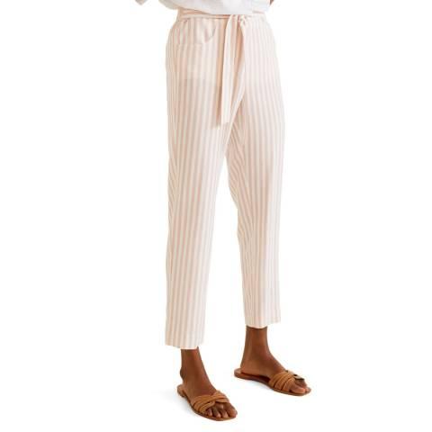Mango Pink Striped Linen-Blend Trousers