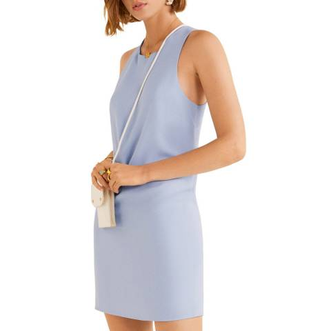 Mango Sky Blue Wrap Back Dress