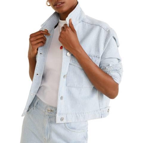 Mango Blue Striped Denim Jacket