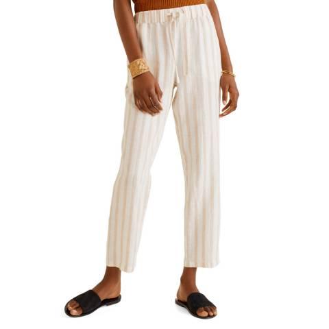 Mango Ecru Straight Linen-Blend Trousers