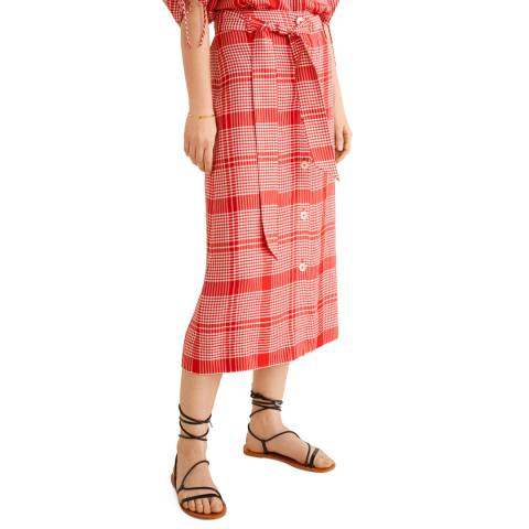 Mango Red Flared Skirt
