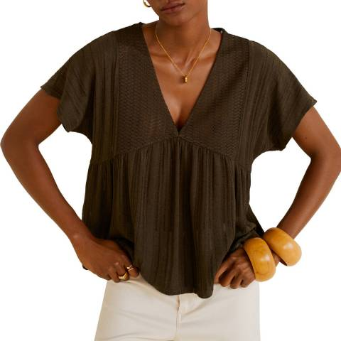 Mango Khaki Openwork Knit T-Shirt