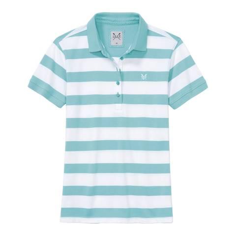 Crew Clothing Aqua/White Exmouth Stripe Polo
