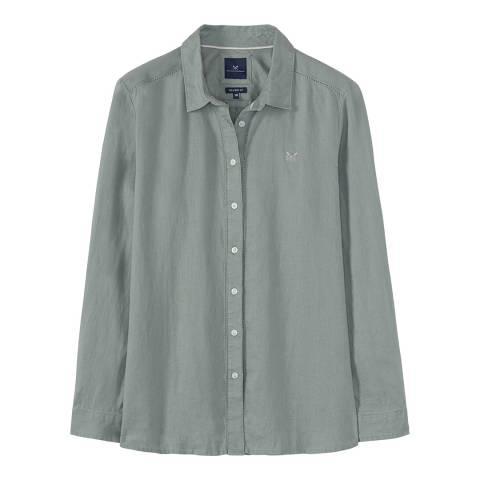 Crew Clothing Green Linen Solid Shirt