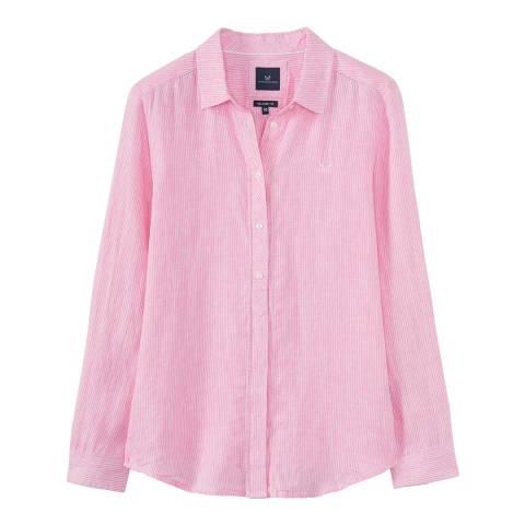 Crew Clothing Pink Linen Stripe Shirt