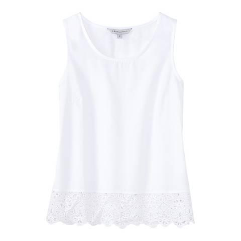 Crew Clothing White Broderie Hem Top