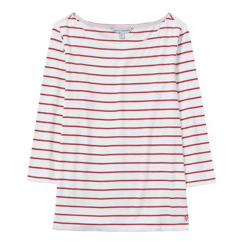 Crew Clothing White//Red Cassie Stripe Top