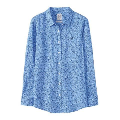 Crew Clothing Blue Printed Boy Friend Shirt
