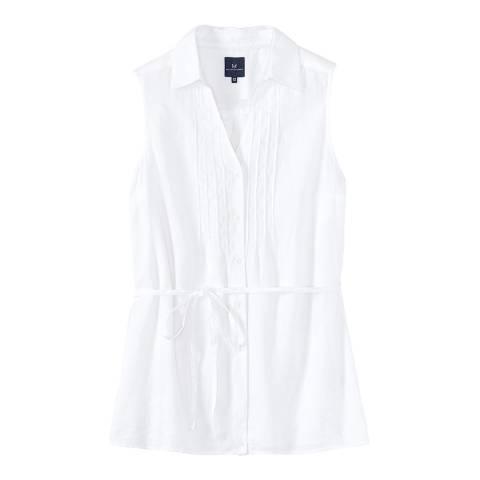Crew Clothing White Malbay Linen Sleeveles Shirt