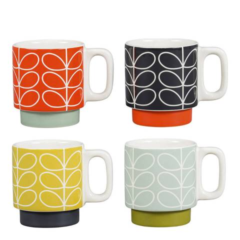Orla Kiely Set of 4 Linear Stem Espresso Stacking Mugs