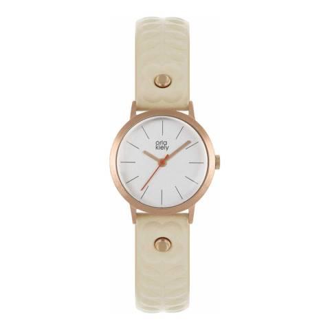 Orla Kiely Nude Leather Strap Watch