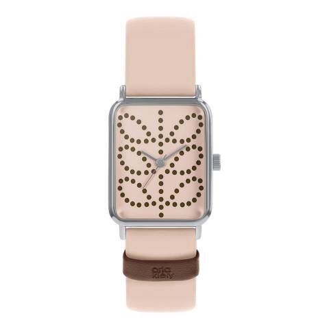 Orla Kiely Pink Rectangle Leather Strap Watch