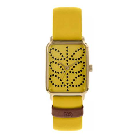 Orla Kiely Yellow Rectangle Leather Strap Watch