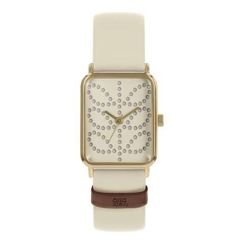 Orla Kiely White Rectangle Leather Strap Watch