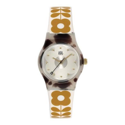 Orla Kiely Orange Plastic Strap Watch