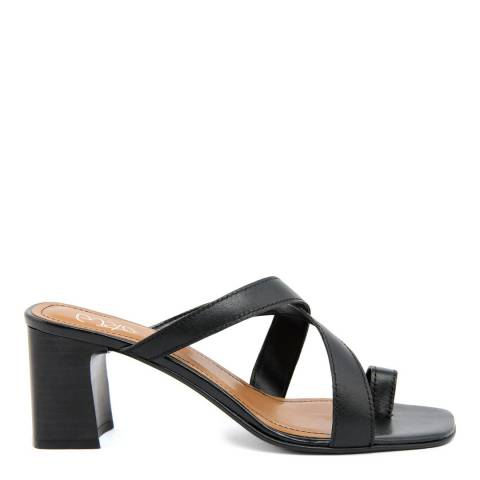 Gusto Black Portofino Leather Heeled Sandals