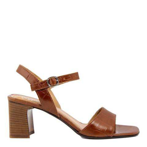 Gusto Cognac Cocco Leather Heeled Sandals