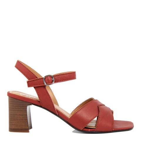 Gusto Red Sheep Leather Heeled Sandals