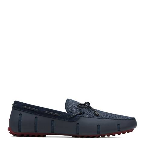 Swims Navy Deep Red Braided Lace Lux Loafer Driver