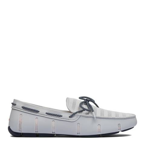 Swims Glacier Grey Navy Knit Lace Loafers