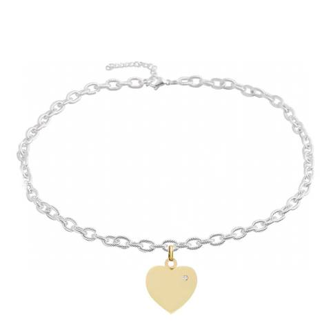 Liv Oliver 18K Gold Plated & Silver Heart Charm Necklace