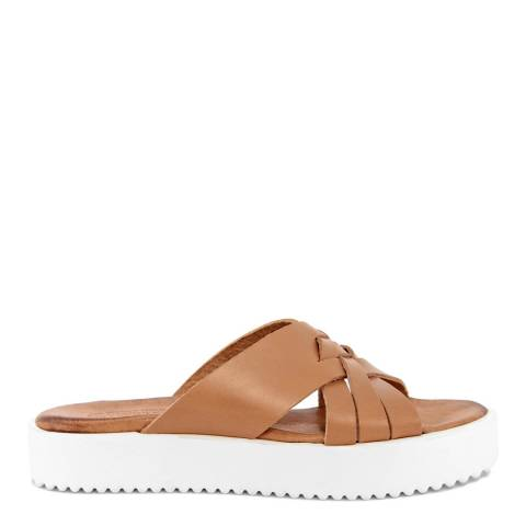 Christianelle Tan Cross Strap Leather Sandals