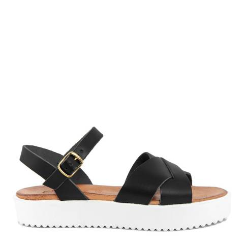 Christianelle Black Platform Leather Sandals