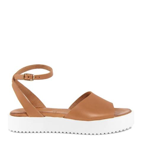 Christianelle Tan Leather Open Toe Sandals