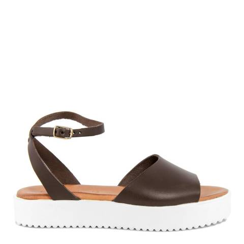 Christianelle Brown Leather Open Toe Sandals