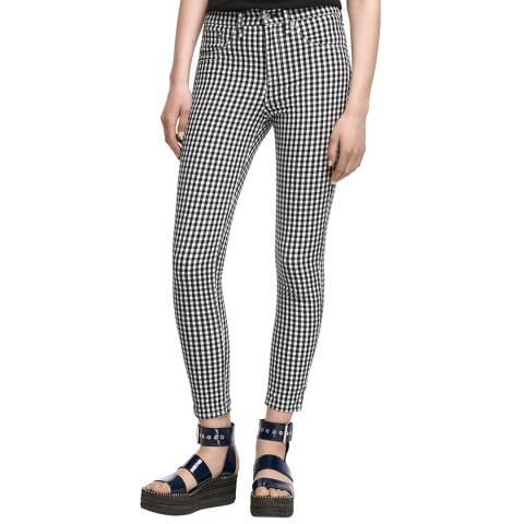 Rag & Bone Black/White Check Skinny Stretch Capri Jeans
